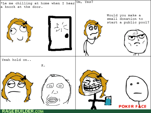 poker face,pool,Rage Comics,trollface
