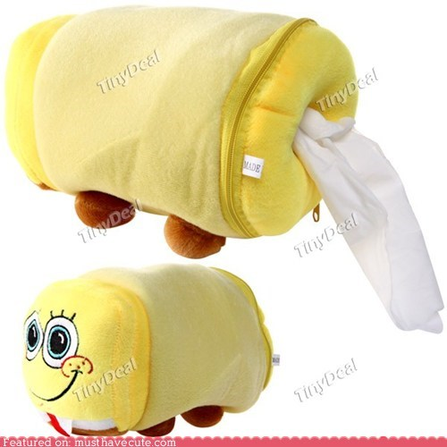 Cute SpongeBob Plush Tissue Paper Holder