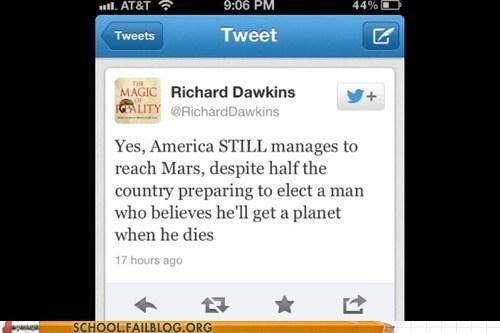 atheism Mars Mitt Romney mormons richard dawkins u so sassy - 6493324800