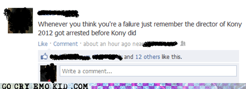 facebook,failure,kony 2012,motivation,weird kid