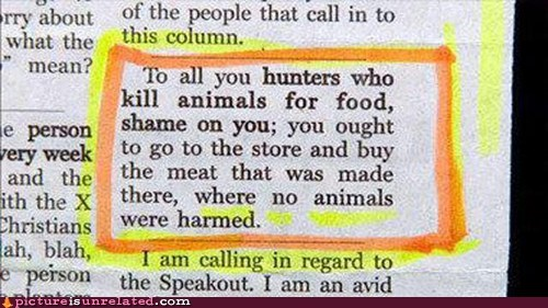 best of week,grocery store,hunting,meat is murder,newspaper,wtf
