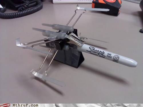 marker,paper clip,sharpie,star wars,x wing