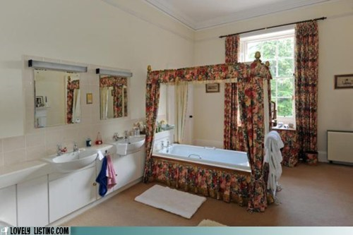 bathroom,bathtub,bed,curtains,four poster