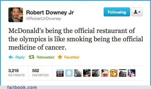 fat McDonald's olympics tweet twitter - 6494364672