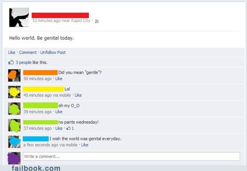 hello world,genitals,gentle,funny