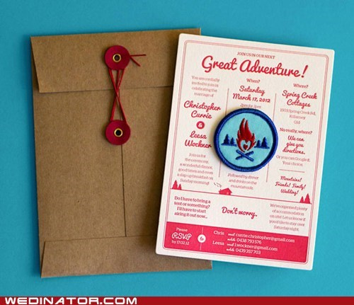 camping,funny wedding photos,invitations,invite,merit badges,scouts