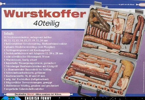 bratwurst,case,german,Germany,schnitzel,suitcase,wurst