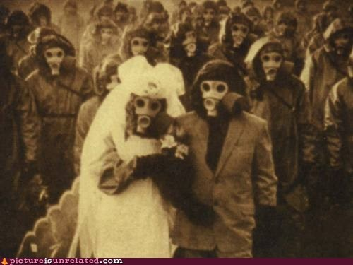 creepy,gasmask,nightmare fuel,vintage photography,wedding,wtf