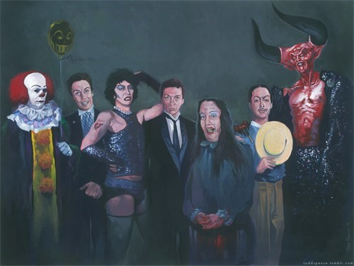 cast,dr-frank-n-furter,Fan Art,fern gully,painting,Rocky Horror Picture Show,roles,tim curry