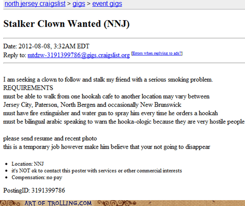 craigslist shoppers beware smoking stalker clown - 6494610176