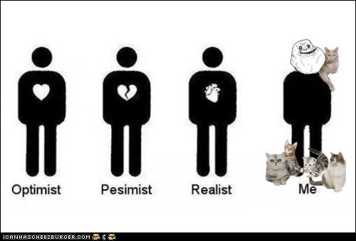 crazy cat lady,crazy cat people,forever alone,lots of cats,me,Memes,optimists,pessimists,realists,Sad