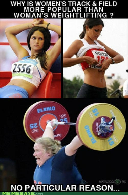 Memes objectification olympics Track and Field weightlifting women - 6494683392