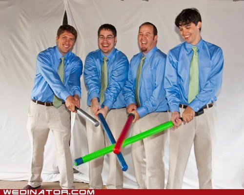 blue shirts Groomsmen light sabers star wars