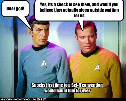 Captain Kirk,conventions,fans,haunt,Leonard Nimoy,Shatnerday,shock,Spock,Star Trek,William Shatner