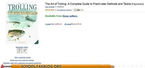 amazon,art of trolling,bargain books,fish