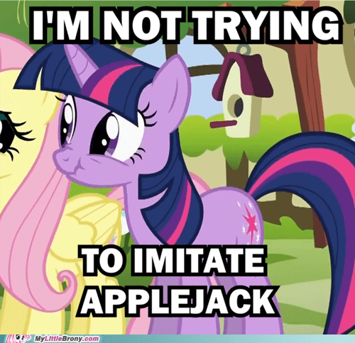 applejack,imitation,liar,meme,twilight sparkle