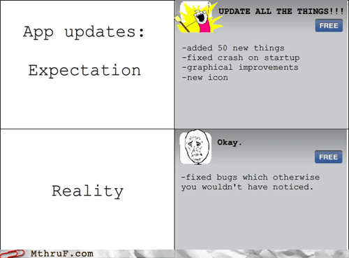 app update,apps,bugs,expectation,expectation vs reality,rage comic,reality
