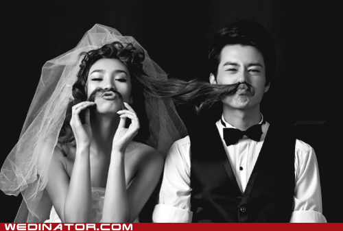 bride,facial hair,funny wedding photos,groom,mustache