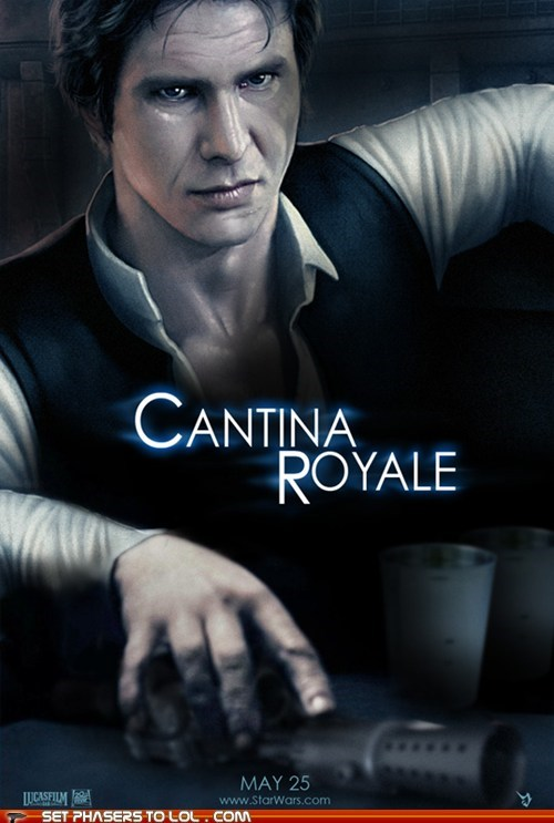 blaster,cantina,casino royale,Fan Art,Han Solo,Harrison Ford,james bond,mos eisley,star wars