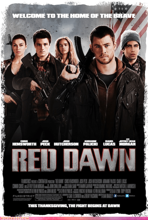 actor celeb chris hemsworth first look isabel lucas josh hutcherson Movie poster red dawn remake - 6497890560