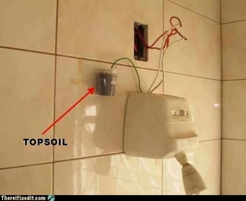 electricity,g rated,ground it to earth,power,showerhead,there I fixed it
