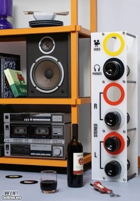 design headphones stereo wine wine rack - 6498027008