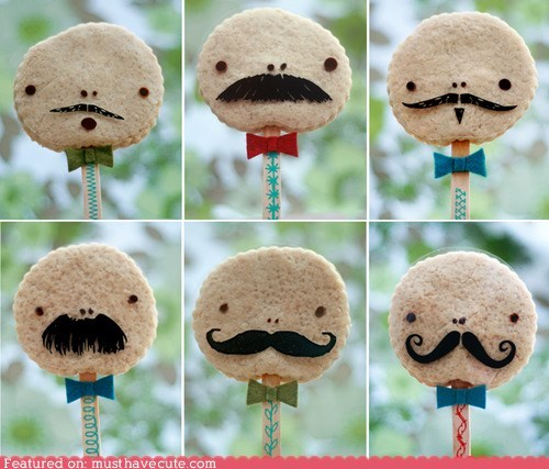 cookies fabric faces mustaches sticks toys