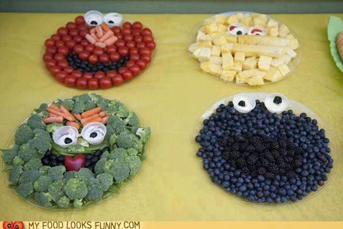 characters faces fruit Sesame Street snacks veggies