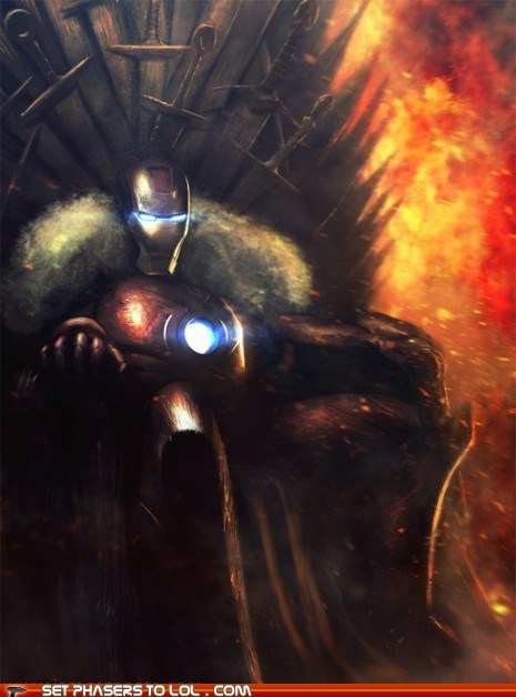 a song of ice and fire Fan Art Game of Thrones iron man irony puns the iron throne tony stark