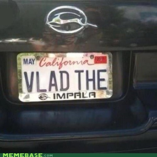car,impala,IRL,license plate,vlad the impaler