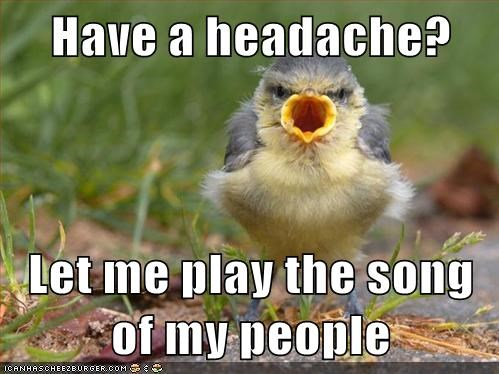 bird,captions,headache,hurts,let me play you the song,let me play you the song of my people,loud