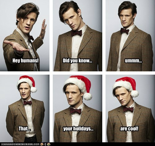 christmas cool did you know uhm doctor who holidays humans Matt Smith santa hat the doctor