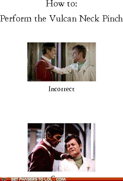 correct,DeForest Kelley,How To,incorrect,Leonard Nimoy,McCoy,Spock,vulcan neck pinch