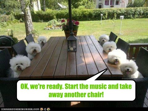 OK, we're ready. Start the music and take away another chair!