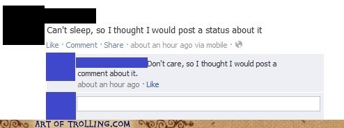 facebook nobody cares sleep status