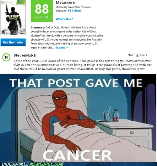 call of duty metacritic post gave me cancer rating - 6499372032