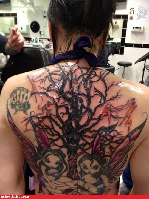 back tattoos,fairies,tree