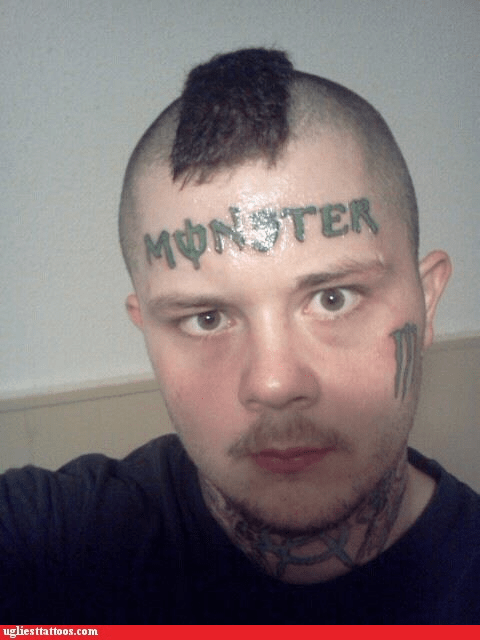 forehead tattoos,monster
