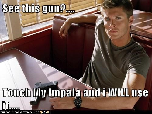 dean winchester,demon,dont-touch,gun,impala,jensen ackles,Supernatural,threat
