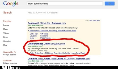 dominos,google,pizza hut