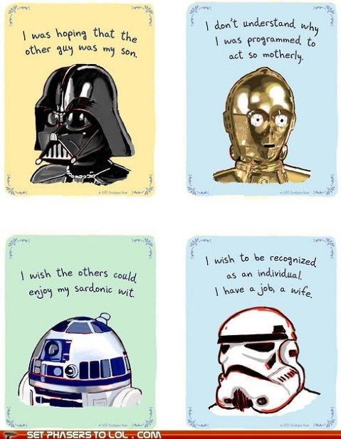c3p0,confessions,darth vader,r2d2,star wars,stormtrooper,wish