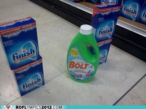 bolt finish London 2012 olympics pun visual pun