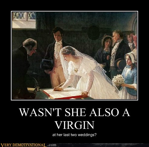 hilarious lady virgin wedding