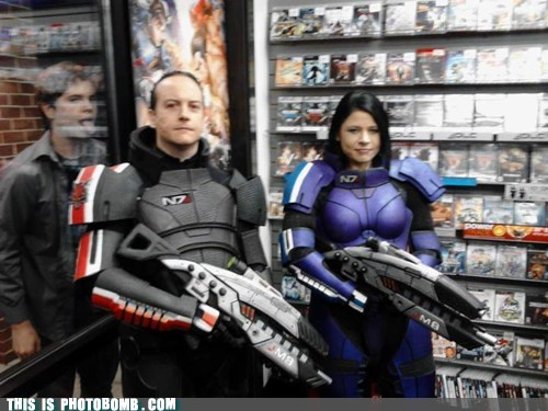 Awkward,cosplay,game opening,licking,mass effect