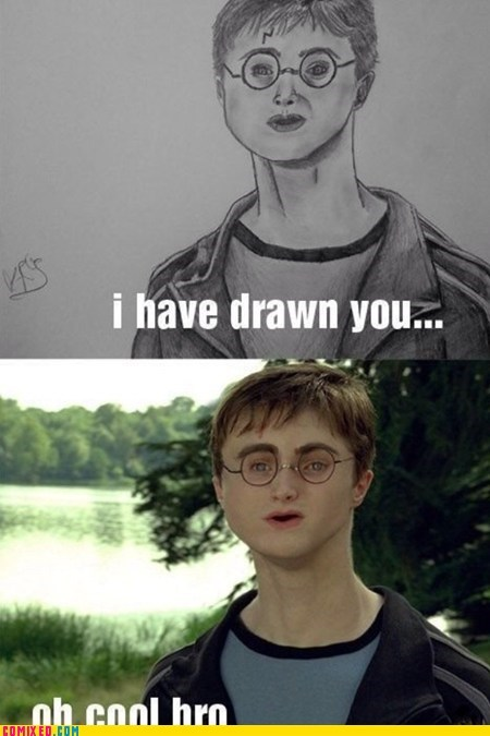 Daniel Radcliffe drawn Harry Potter photoshop the internets