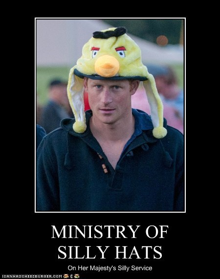 angry birds,majesty,ministry of silly,Prince Harry,silly hat