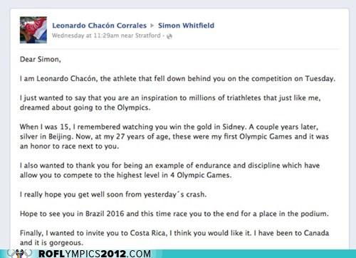 Canada costa rica letter London 2012 olympics sportsmanship triathlon - 6502790912