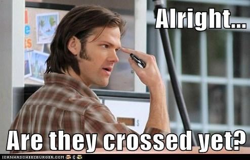 crossed eyes,derp,Jared Padalecki,pointing,sam winchester,trying