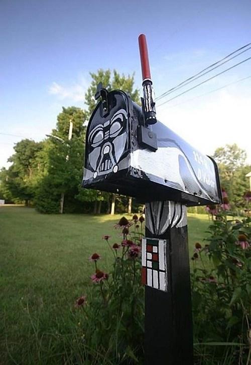 darth vader,lightsaber,mailbox