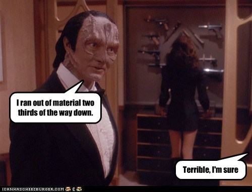 Andrew Robinson,cardassian,Deep Space Nine,dress,Garak,material,short,Star Trek,tailor